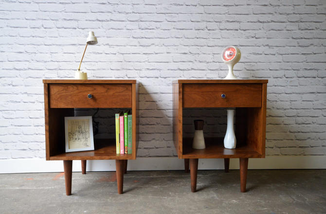 Pair of Wakefield Nightstands with drawers - Solid Cherry - Custom for Gillian by STORnewyork