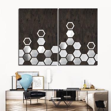 Metal Wall Art - Wood Wall Art - Modern Geometric Painting Panel Art Minimalist Large Mixed Media Contemporary Woodwork Abstract Sculpture by LauraAshleyWoodArt