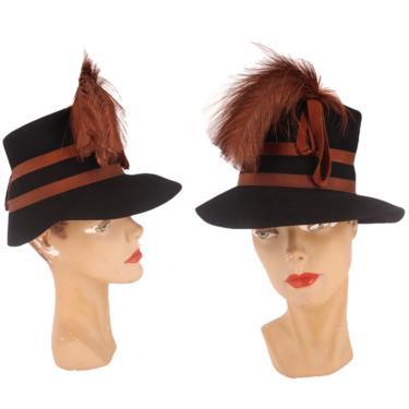 40s STETSON womens hat / vintage 1940s felt feather plume tilt cocktail fedora rare 1930s by ritualvintage
