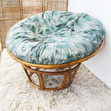 Large Vintage Papasan Chair with Cushion by PortlandRevibe