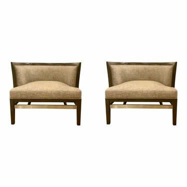 Currey & Co. Modern Gray and Beige Tweed Hugo Earth Lounge Chairs - a Pair