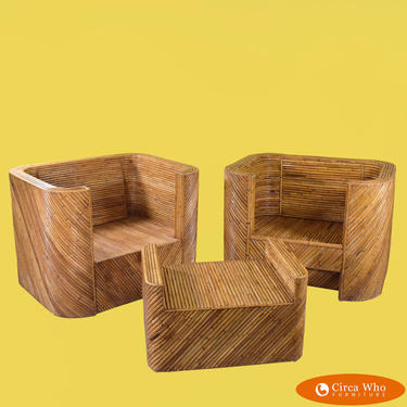 Pair of Split Bamboo Club Chairs With Ottoman