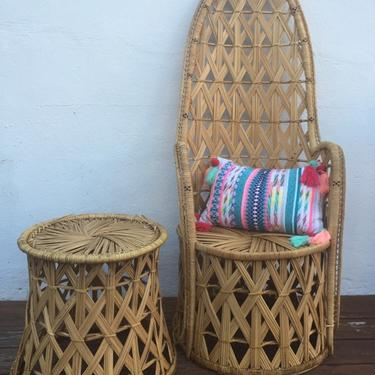 Unique high back wicker chair and stool/table