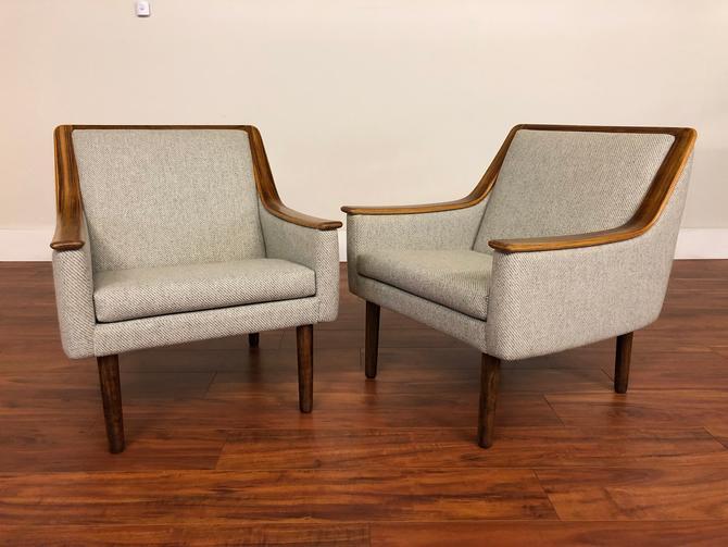 Vintage Rosewood Trim Wool Chairs Pair by Vintagefurnitureetc