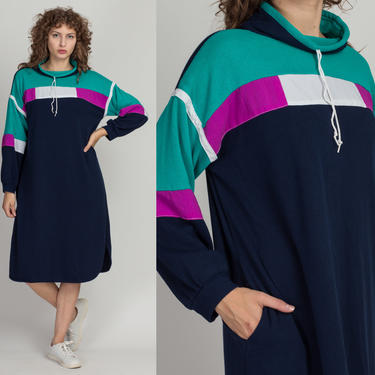 80s Long Color Block Funnel Neck Sweatshirt - Extra Large | Vintage Soft Slouchy Pullover Sweater Dress by FlyingAppleVintage
