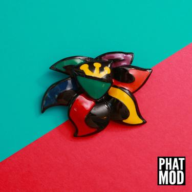 Huge Vintage 80s Black Colorful Painted Flower Pin Brooch - Signed by RETMOD