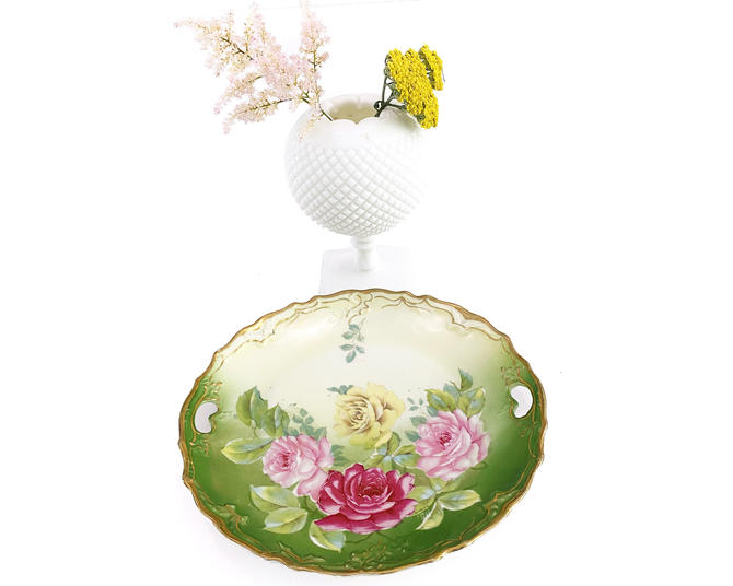Vintage Hand Painted Green Plate w Pink & Yellow Flowers by DressingVintage