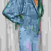 Vintage Turquoise Jacquard Top