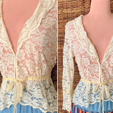 Vintage Lace Top, Peplum, Cropped, Tie Front, Nicole Miller, 90s Blouse by GabAboutVintage