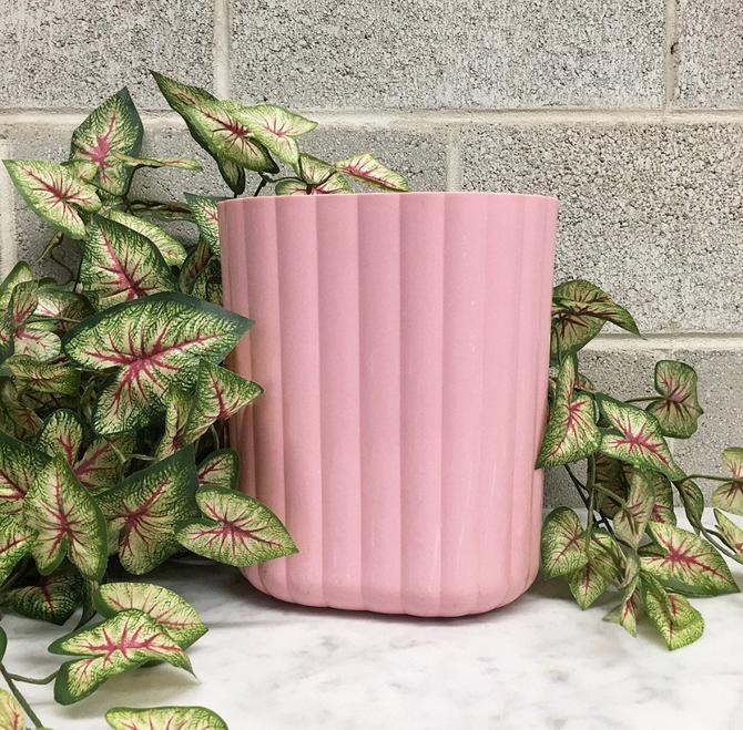 Vintage Wastebasket Retro 1980s Pink + Plastic + Scalloped + Ribbed + Trash Can + Garbage Bin + Bathroom and Home Decor by RetrospectVintage215