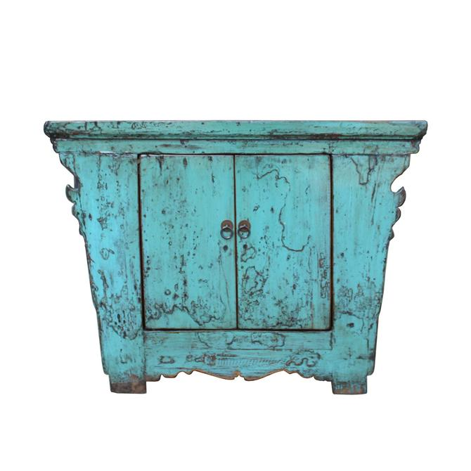 Chinese Rustic Rough Wood Distressed Aqua Blue Side Table Cabinet cs5343E by GoldenLotusAntiques