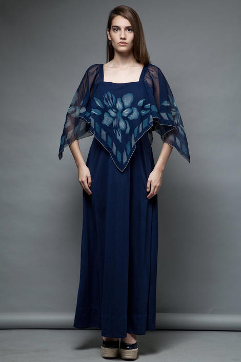 vintage 70s maxi dress hostess ethereal navy sheer cape scarf floral XL 1X EXTRA LARGE plus size by shoprabbithole