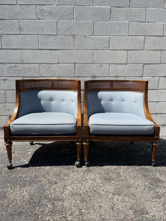 Pair of Chairs Vintage Lounge Armchair Wood Set Seating Slipper Barrel Back French Accent Chic Antique Hollywood Regency Mid Century Modern by DejaVuDecors