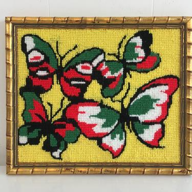 Vintage Needlepoint Butterflies Frame Butterfly Framed 1970s Kitsch Retro Decor Kitchen Wall Hanging Kitschy Nursery Kids Room Yellow by CheckEngineVintage