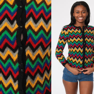 Wool Striped Sweater 70s Hippie Boho Black ZIG ZAG Sweater Bohemian Cardigan 1970s Button Up Seventies Hippie Extra Small xs by ShopExile