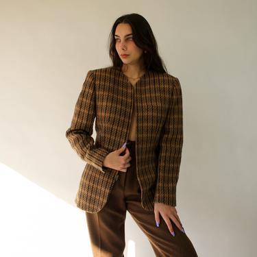 Vintage 80s Anne Klein Caramel Brown, Tan and Black Plaid Zipper Front Blazer | Made in USA | Cashmere, Wool, Alpaca | 1980s Designer Jacket by TheVault1969
