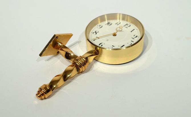 Imhof SWISS Wall Mounted Bedside Clock Vintage Mid-Century Brass Twist by BrainWashington