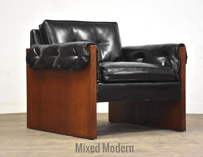 Walnut & Black Vinyl MCM Lounge Chair by mixedmodern1