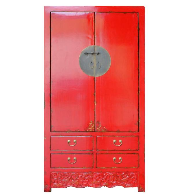Chinese Distressed Red Tall Wedding Armoire Wardrobe TV Cabinet cs4893S