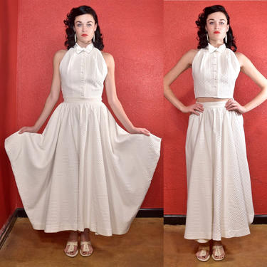 Rare Claire McCardell 1950s White Dress Two Piece by THEGIRLCANTHELPITUSA