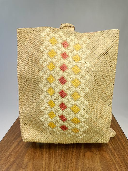 Super Rad Diamond Pattern Straw Backpack