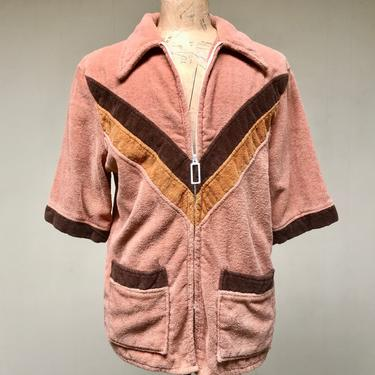 """Vintage 1970s Mens Terry Cloth Zip Jacket, Short Sleeve Cabana Coat, Hipster Pool Cover-Up, Medium 42"""" Chest by RanchQueenVintage"""