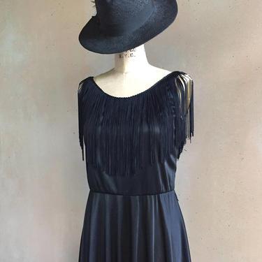 Vintage 70s Sheer Fringe Slip Dress with High Side Slits by LucileVintage
