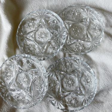 Vintage Glass Coasters | Set of 4 | Vintage Anchor Hocking | Glass Coasters Star Pattern | Vintage Barware by BrassBluebonnets
