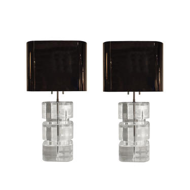 Karl Springer Rare and Exceptional Pair of Lucite Table Lamps 1980s (signed)