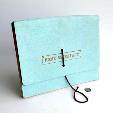 Vintage document organizer Paper organizer folder Tiffany blue Pocket organizer with tabs Document portfolio Pocket folder by BelleCosine