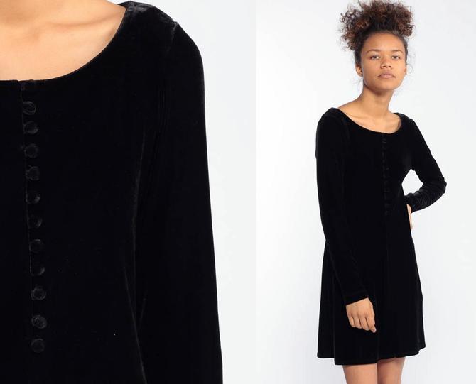920137df64ca Velvet Mini Dress 90s Party Black BCBG Grunge Long Sleeve 1990s Cocktail  Little Black Dress Vintage