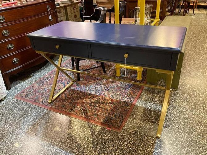 """Blue painted desk with gold legs. 47.5"""" x 19.5"""" x 29.5"""""""