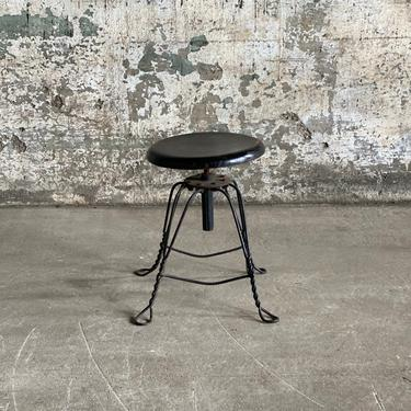 Antique Twisted Wire Metal Base Stool Parlor Seating by NorthGroveAntiques
