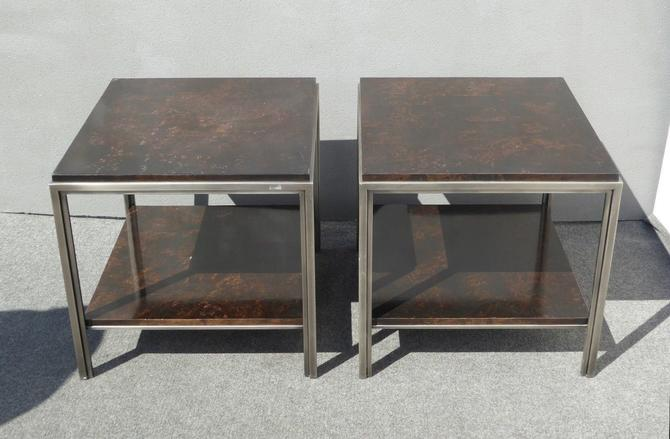 Pair of Ethan Allen Avenue Contemporary Industrial Style Wood & Metal End Tables by VintageLAfurniture