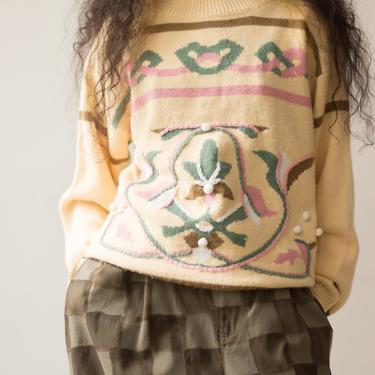 1980s Lacoste Creme Folkloric Motif Pullover by waywardcollection
