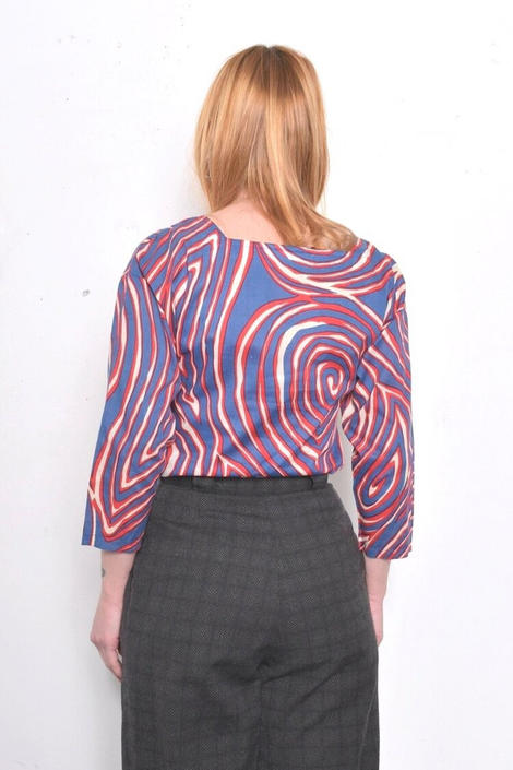 Vintage 80s Designer Psychedelic OP Art Print Cotton Blouse  Size Small by 40KorLess