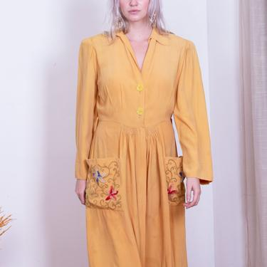 1940s Rare Mustard Smocked Rayon Dress with Embroidered Floral Pockets Zip Front Button Up sz S Dressing Gown Yellow by backroomclothing