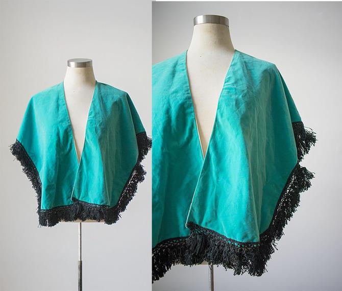 Vintage 1950s Bolero / Teal Bolero / 1950s Turquoise Throw / Vintage Accessory by milkandice