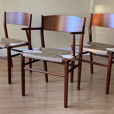 THREE Borge Mogensen Danish Dining Chairs in Teak and new Danish Paper Cord by ASISisNOTgoodENOUGH