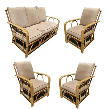 "Rare ""1949er"" Rattan Sofa Livingroom Set w/ 3 Lounge Chairs by Heywood Wakefield by HarveysonBeverly"