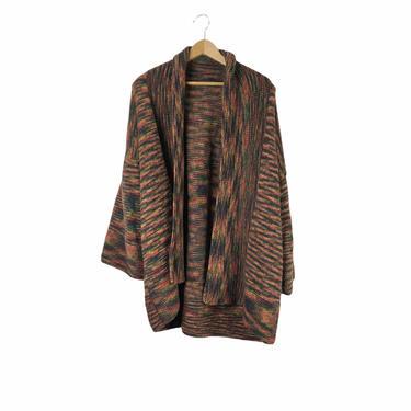 """Vintage 70's Brown Orange Space Dye Bell Sleeve Cardigan Sweater, 56"""" by Northforkvintageshop"""