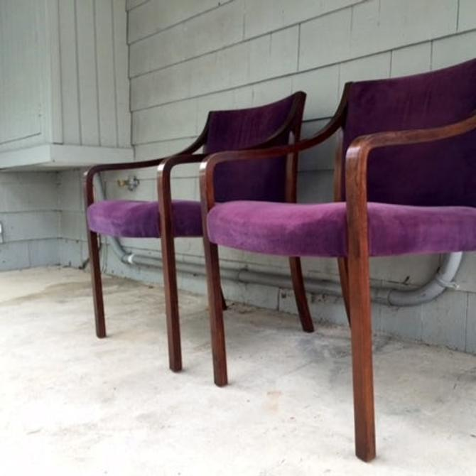 Pair of Midcentury Velvet Bentwood Lounge Chairs