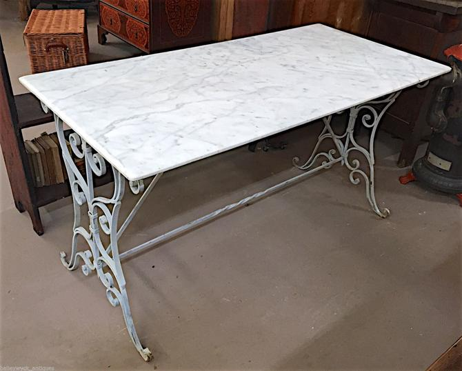 Wrought Iron & Marble Dining Table |Patio/Pool/Garden Furniture