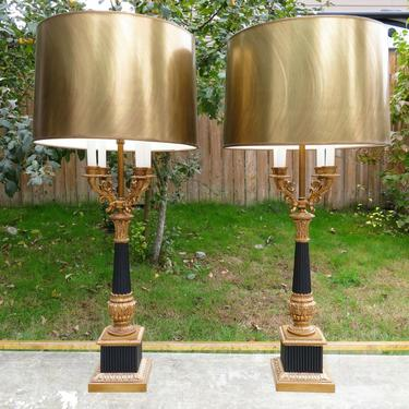 PAIR of FRENCH NEOCLASSICAL CANDELABRA TABLE LAMPS Rococo HOLLYWOOD REGENCY