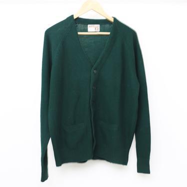 mid century hunter forest green CARDIGAN jacket sweater vintage 60s men's grunge kurt cobain cardigan sweater -- size large WOOL sweater by CairoVintage