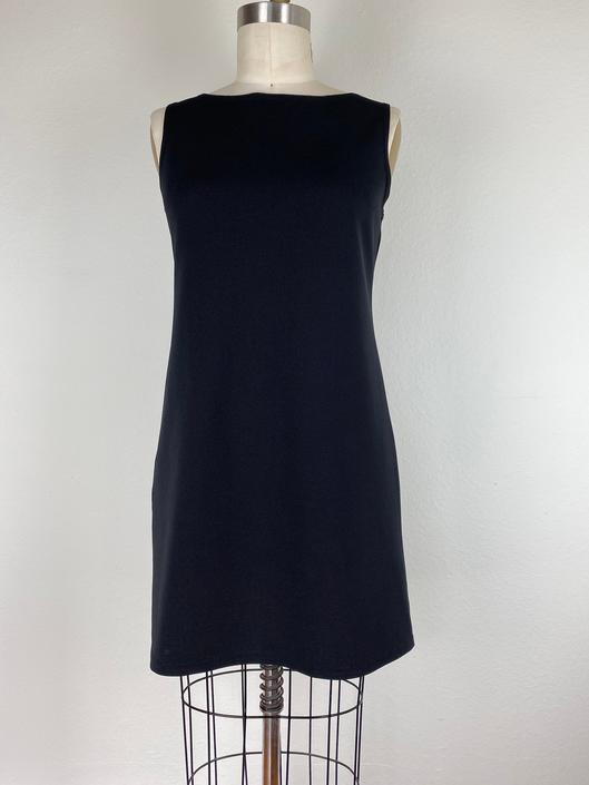 vintage black minimalist shift dress size small by miragevintageseattle