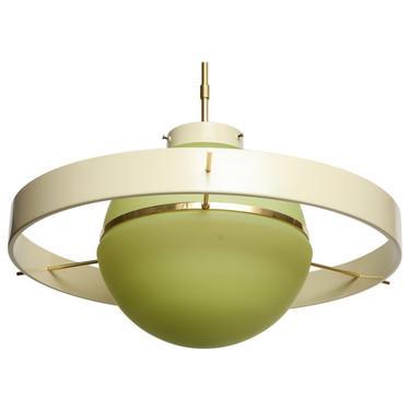 Green Glass Midcentury Satellite Pendant Light, Italy, 1950s