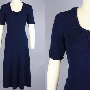1940s KNIT DRESS with Looped Trim | Vintage 40s Dark Blue Wool Sweater Dress | small by RelicVintageSF