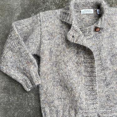 Vintage fuzzy cardigan ~ soft & cozy gray /speckle tan nubby wool mohair sweater~ 1990's trend minimalist warm ~ roomy size small by HattiesVintagePDX