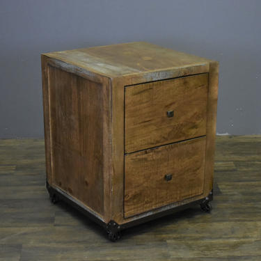 Rustic Solid wood Forged Iron Base File Cabinet on Wheels by RusticShop1